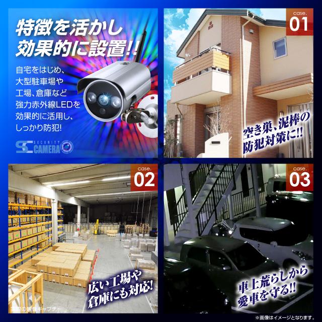屋外 強力赤外線LEDライト 暗視カメラ 防犯カメラ (OL-020) P2P 24時間常時 録画 録画装置内蔵 暗視撮影 防滴仕様 監視カメラ