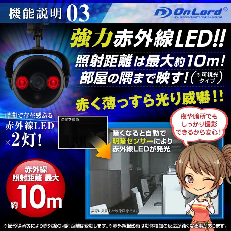 SDカード防犯カメラ 録画装置内蔵 USB接続 防滴仕様 屋外 赤外線暗視カメラ ハウジング型  (OL-021) 強力赤外線LED 24時間常時録画 暗視撮影 監視カメラ オンロード OnLord