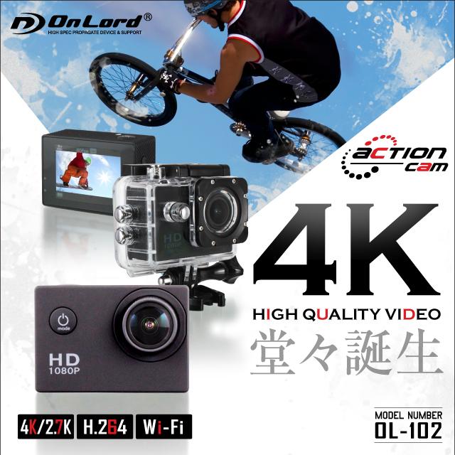 GoPro(ゴープロ)クラス ウェアラブルカメラ アクションカム (OL-102) 4K 1080P/60fps 高画質撮影 広角170° 30m防水 防水ケース&マウント付属 オンロード OnLord