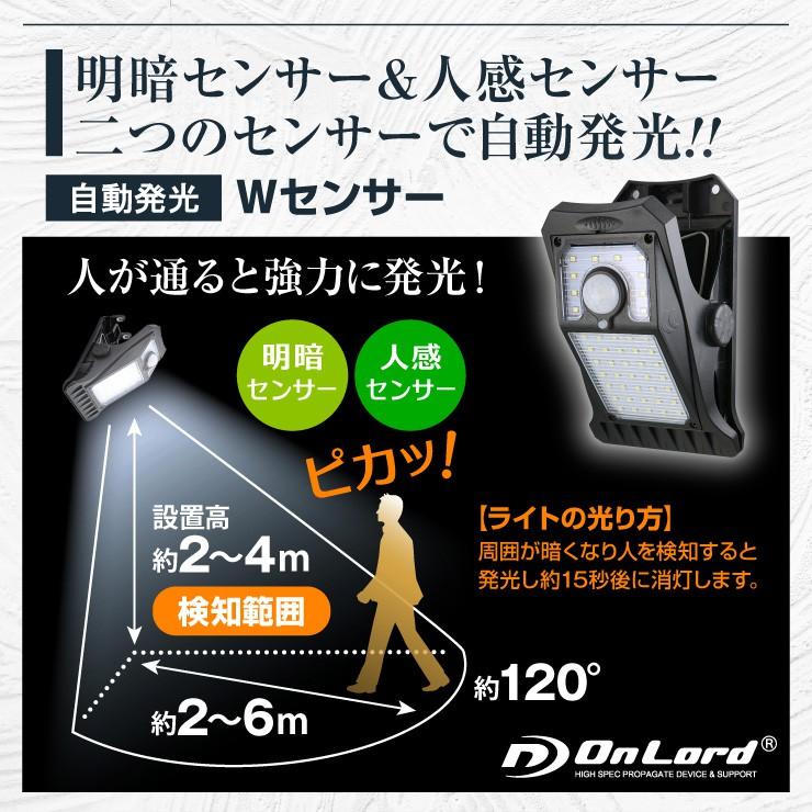 オンロード(OnLord) ソーラー充電式 クリップ型センサーライト LED 人感センサー 自動発光 防水 OL-336B