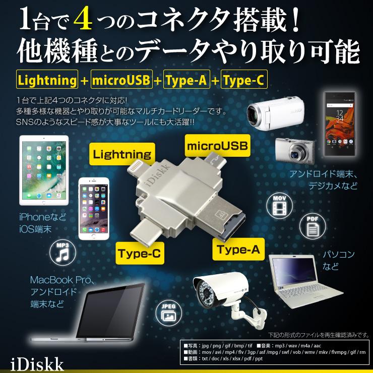iPhone iPad Androidスマホ対応 カードリーダー Lightning ライトニング USB microUSB Type-C microSDカード 128GB 4 in 1 マルチカードリーダー (R002)