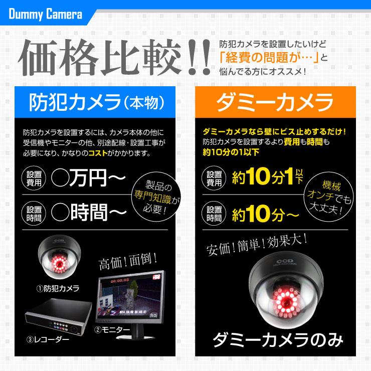 【ダミーカメラ、防犯カメラ、監視カメラ】ドーム型赤外線ダミーカメラ(ドーム型暗視タイプ)防犯ダミーカメラ/オンサプライ(OS-168R)LEDランプ11灯自動発光