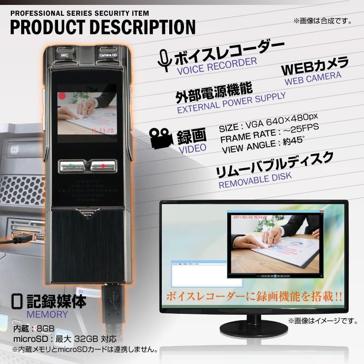 小型ビデオカメラ ボイスレコーダー型 フラッシュメモリ スパイカメラ (NB-001) 指紋認証センサー 8GB内蔵 32GB対応