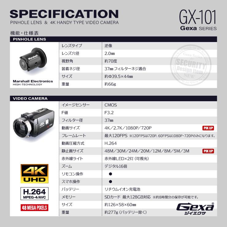 ジイエクサ(Gexa) 調査用 ピンホールレンズ 4Kビデオカメラ 証拠撮影セット 強力赤外線搭載 リモートマイク付属 スマホ操作 128GB対応 GX-101