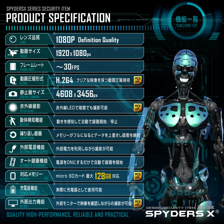 スパイダーズX 小型カメラ 充電器型カメラ 防犯カメラ 1080P 赤外線撮影 128GB対応 スパイカメラ A-614