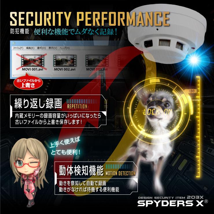 スパイダーズX 小型カメラ 火災報知器型 防犯カメラ 1080P 暗視補正 128GB内蔵 スパイカメラ M-910α
