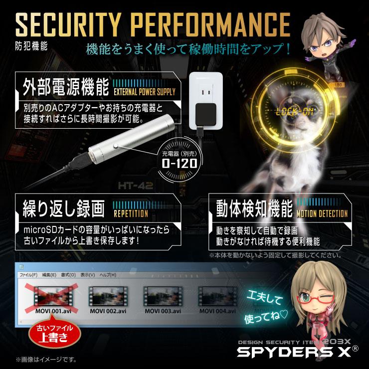 スパイダーズX 小型カメラ 腕時計型カメラ 防犯カメラ 1080P 赤外線LED 16GB内蔵 スパイカメラ W-790α