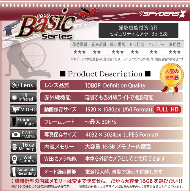 小型カメラ 防犯カメラ 小型ビデオカメラ 腕時計 腕時計型 スパイカメラ スパイダーズX Basic (Bb-628) 赤外線付