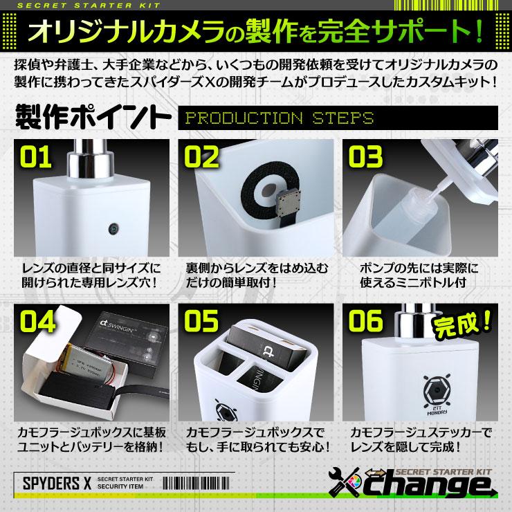 スパイダーズX change 小型カメラ ポンプボトル グレー シークレットキット 防犯カメラ 3.2K スパイカメラ CK-001B