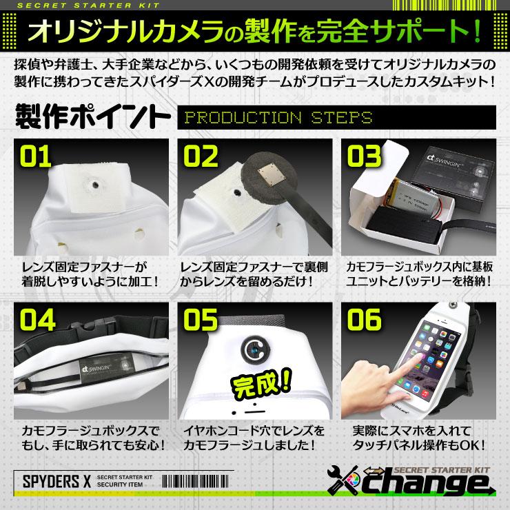 スパイダーズX change 小型カメラ ランニングポーチ ホワイト シークレットキット 防犯カメラ 4K スパイカメラ CK-004C