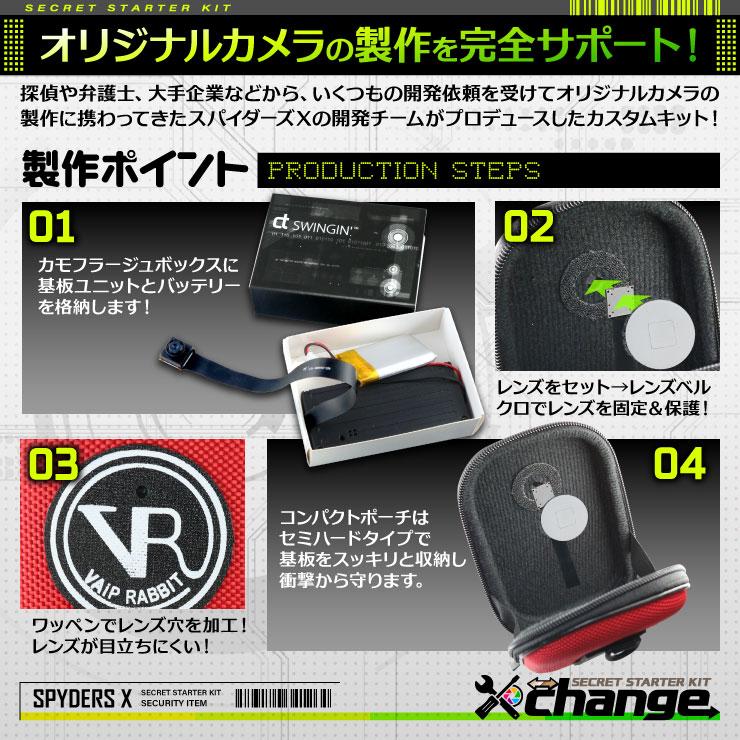 スパイダーズX change 小型カメラ コンパクトポーチ レッド シークレットキット 防犯カメラ 4K スパイカメラ CK-012D