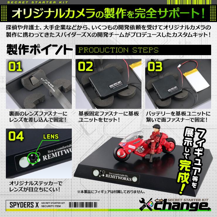 スパイダーズX change 小型カメラ ディスプレイ台 ブラック シークレットキット 防犯カメラ 4K スパイカメラ CK-023B