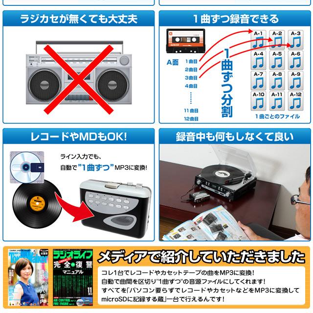 世界一のおもしろグッズ店からレアアイテム続々入荷 サンコーレアモノショップ パソコン要らずでレコードやカセットをMP3に変換 眠っていたアナログ音源がよみがえる!『パソコン要らずでレコードやカセットなどをMP3に変換してmicroSDに記録する蔵』(OA-1980)